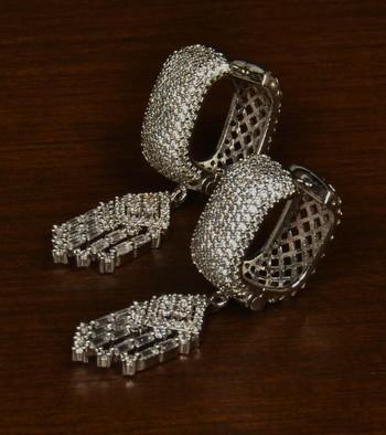 Rhodium Plated American Diamond Embellished Designer Dangler Hoop 216ED346