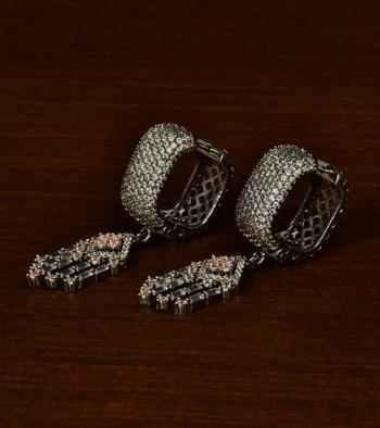 Black and Rose Gold Plated American Diamond Embellished Designer Dangler Hoop 216ED347