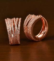 Rose Gold Plated American Diamond Embellished Designer Hoops 216ED352