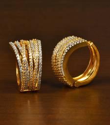 Gold Plated American Diamond Embellished Designer Hoops 216ED353