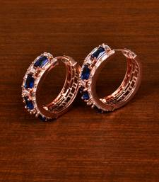 Rose Gold Plated American Diamond and Blue Stone Embellished Designer Hoops 216ED369