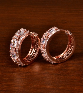 Rose Gold Plated American Diamond Embellished Designer Hoops 216ED370