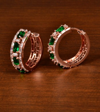 Rose Gold Plated American Diamond and Green Stone Embellished Designer Hoops 216ED374