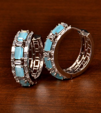 Rhodium Plated American Diamond and Sky Stone Embellished Designer Hoops 216ED379