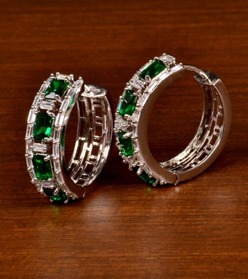 Rhodium Plated American Diamond and Green Stone Embellished Designer Hoops 216ED380