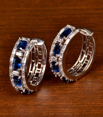 Rhodium Plated American Diamond and Blue Stone Embellished Designer Hoops 216ED382