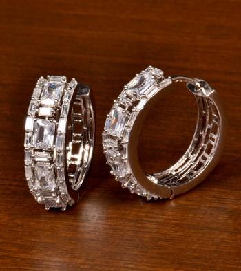 Rhodium Plated American Diamond Embellished Designer Hoops 216ED383