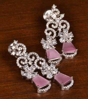 Rhodium Plated Baby Pink Stone Embellished American Diamond Danglers 216ED385