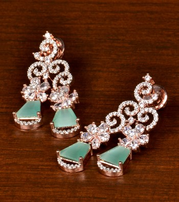 Rose Gold Plated Mint Stone Embellished American Diamond Danglers 216ED387