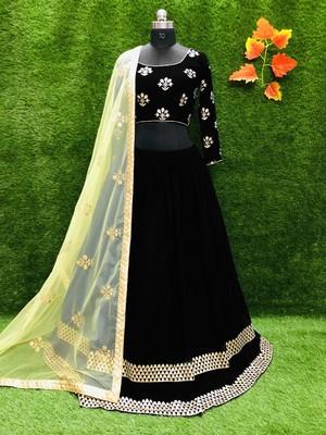 Black plain georgette semi stitched lehenga