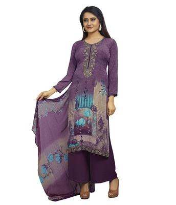 Purple embroidered crepe salwar