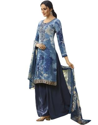 Blue embroidered crepe salwar