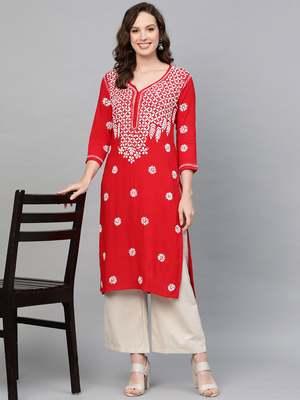 Red hand woven rayon chikankari-kurtis