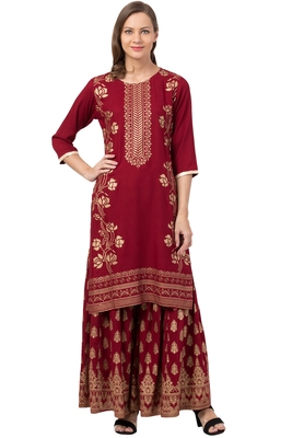 MRC Women Kurta and Sharara Set Rayon