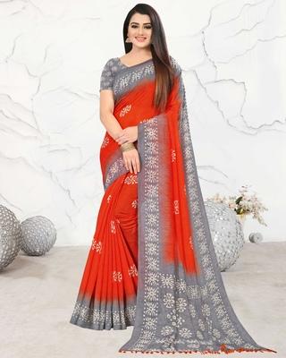 Orange printed pure cotton saree with blouse