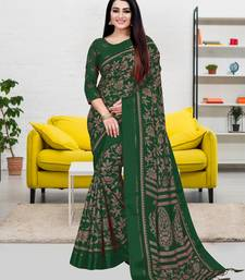 Dark green printed blended cotton saree with blouse