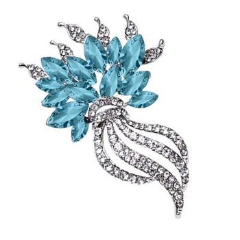 Blue crystal brooch