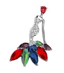 Multicolor crystal brooch