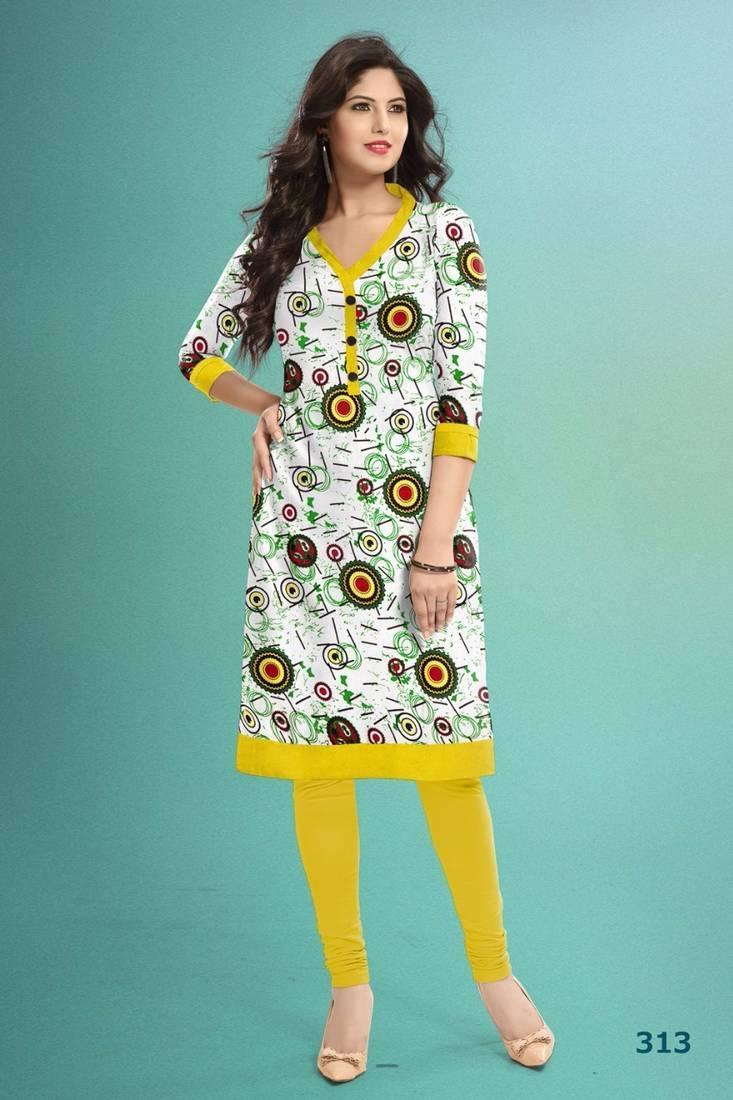 Buy Simple Look Yellow And White Designer Kurti Online