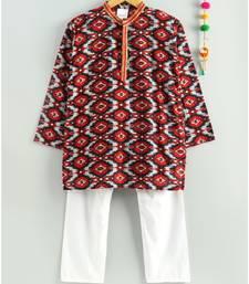 red ikkat print kurta with a white pajama