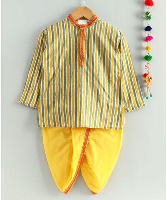 yellow striped kurta with a mustard dhoti