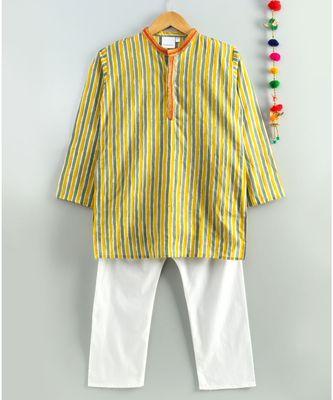 yellow striped kurta with a white pajama