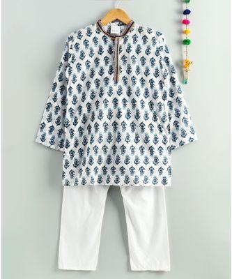 white printed kurta with white pajama