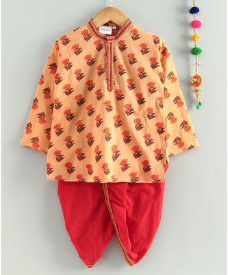 Peach kurta with Red dhoti