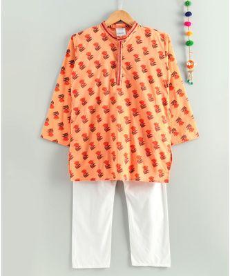 peach kurta with white pajama