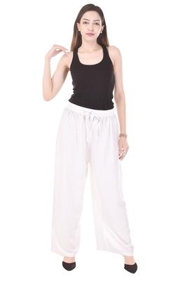 White plain rayon trousers