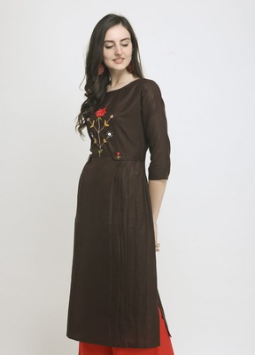 Brown Embroidered Cotton Straight Kurti