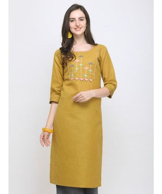 Mustard Embroidered Cotton Straight Kurti