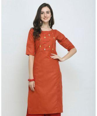 Orange Embroidered Cotton Straight Kurti