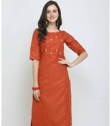 Orange Embroidered Cotton Straight Kurti