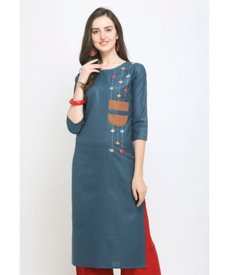 Blue Embroidered Cotton Straight Kurti