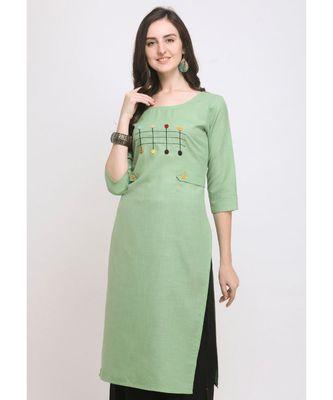 Green Embroidered Cotton Straight Kurti