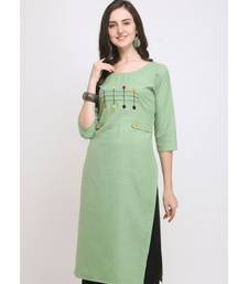 Green Embroidered Cotton Straight Kurti
