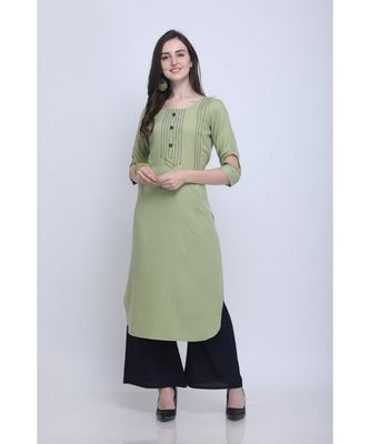 Green Embroidered Rayon Kurti with Plazzo