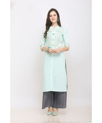 Sky Blue Embroidered Rayon Kurti with Plazzo