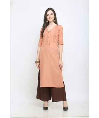 Orange Embroidered Rayon Kurti with Plazzo