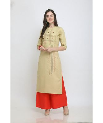 Mustard Embroidered Rayon Kurti with Plazzo