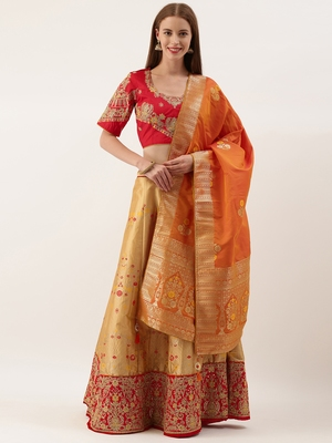 Red & Copper Silk Embroidered Semi- Stitched lehenga & Unstitched Blouse with dupatta