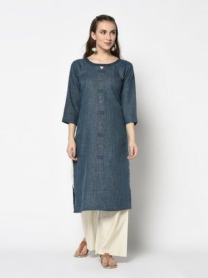 Teal Cotton Straight kurti