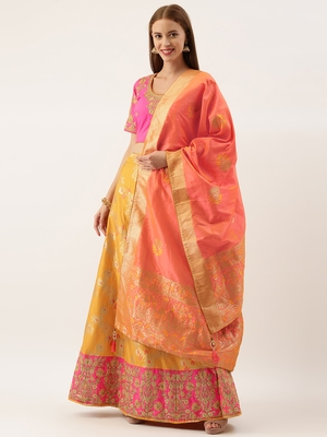 Red & Orange Silk Embroidered Semi- Stitched lehenga & Unstitched Blouse With Dupatta