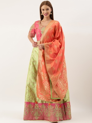 Pink & Olive Green Silk Embroidered Semi- Stitched lehenga & Unstitched Blouse With Dupatta