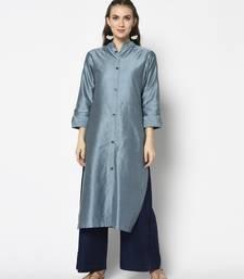 Steel Blue Cotton Straight kurti