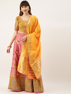 Mustard & Peach Silk Embroidered Semi- Stitched lehenga & Unstitched Blouse With Dupatta
