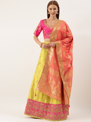 Pink & Yellow Silk Embroidered Semi- Stitched lehenga & Unstitched Blouse with Dupatta