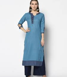 blue Cotton Straight kurti