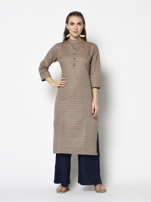Beige Cotton Straight kurti